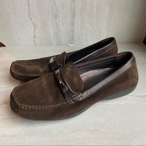 Geox brown suede slip on loafers driving shoes 38